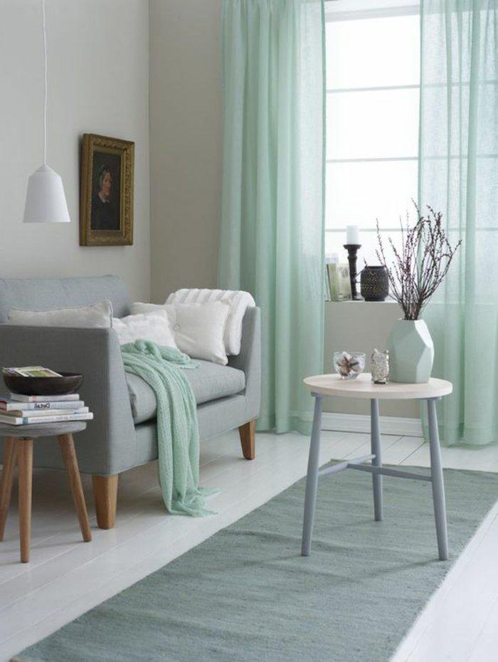 Salon scandinave gris vert