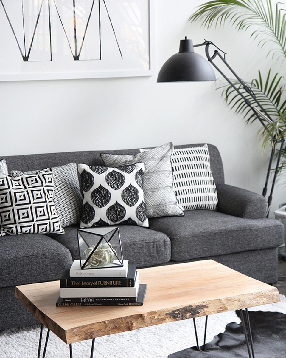 Deco scandinave canapé noir