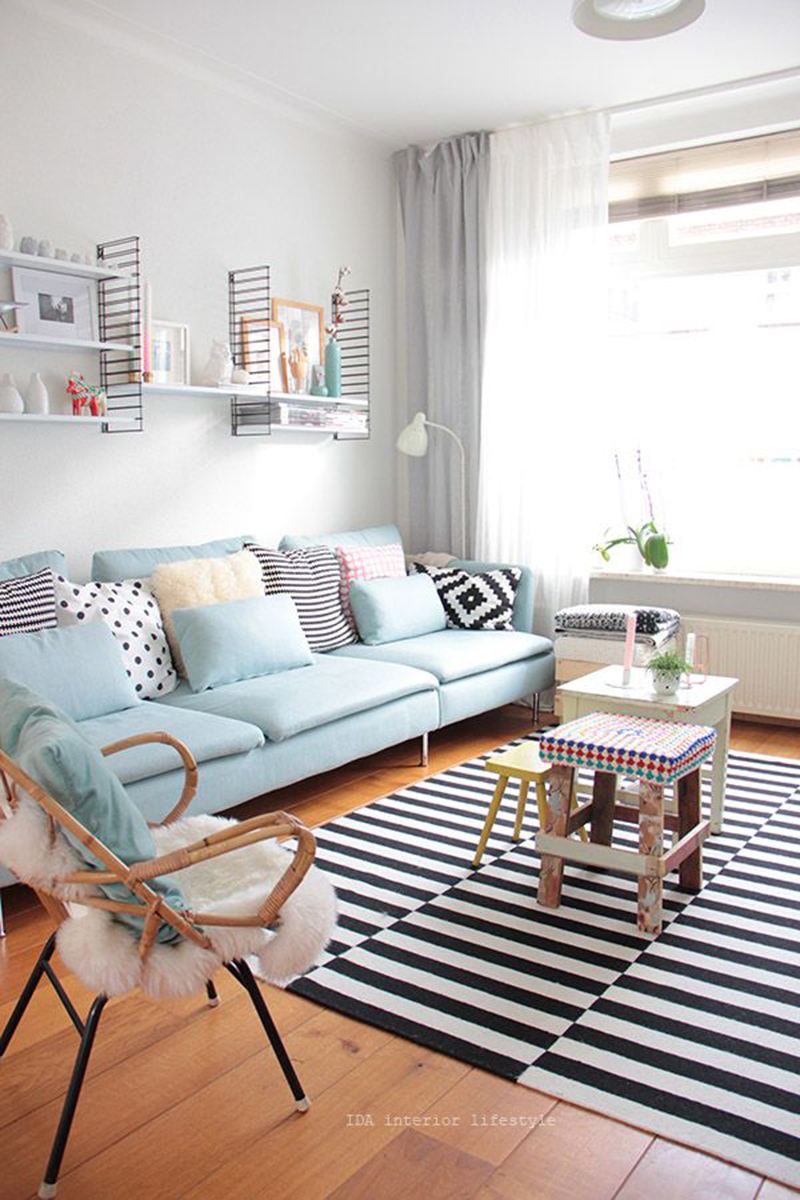 Salon scandinave pastel