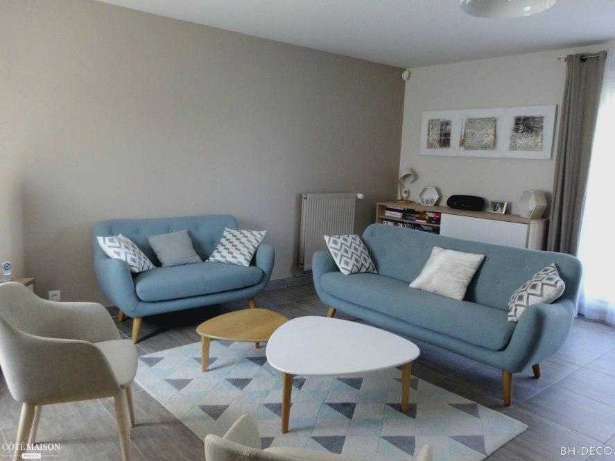 Salon scandinave bleu et gris