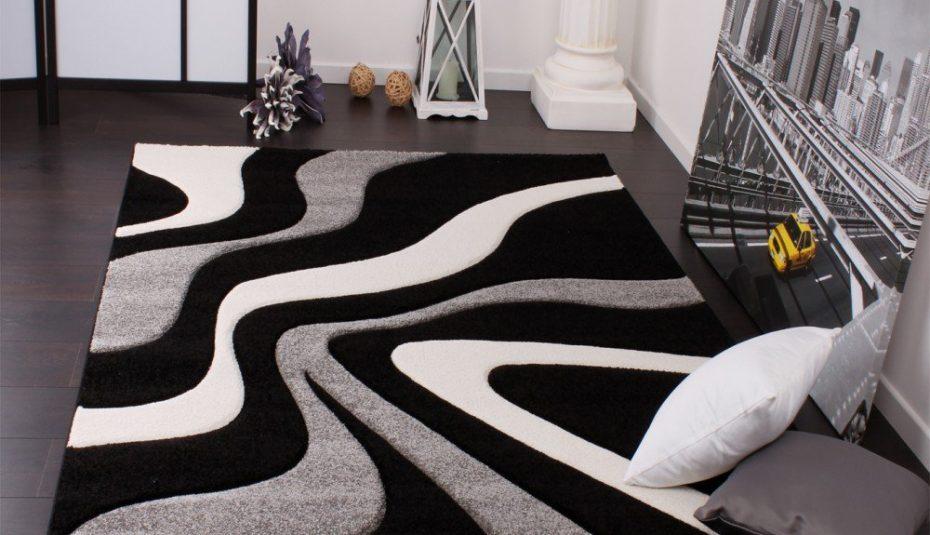 Tapis salon scandinave noir et blanc