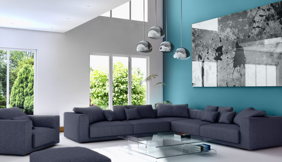 Salon scandinave bleu roi