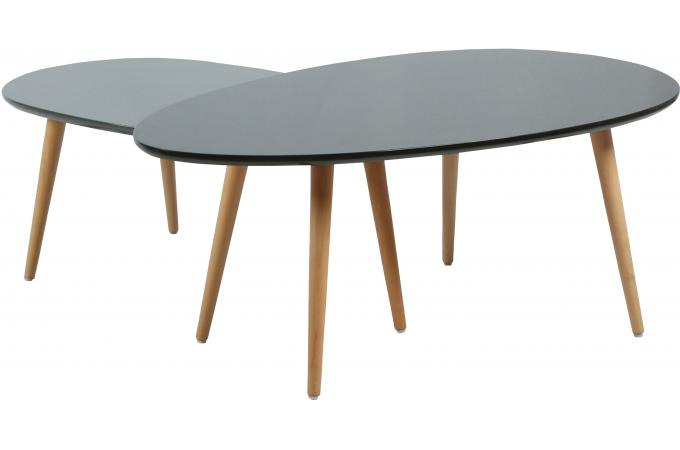Table basse scandinave gigogne gris et blanc