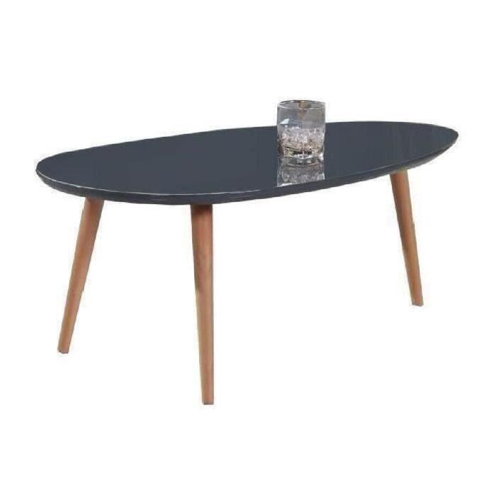 Table basse scandinave laquée blanc brillant avec pieds en bois massif - l 88 x l 48 cm