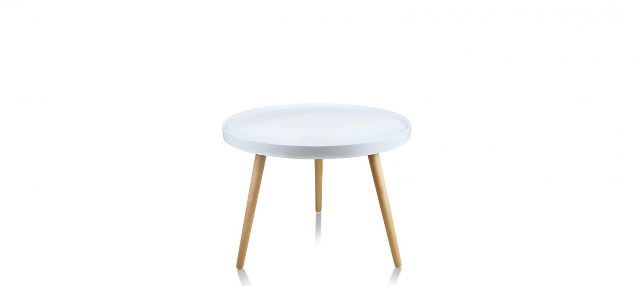 Table basse ronde scandinave blanche