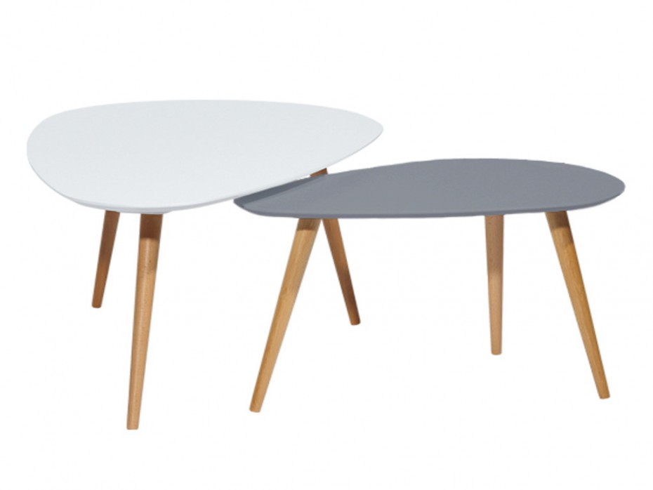 Table basse gigogne scandinave blanche et grise