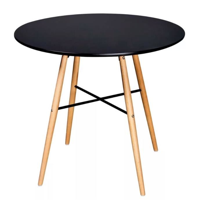 Table scandinave plateau noir