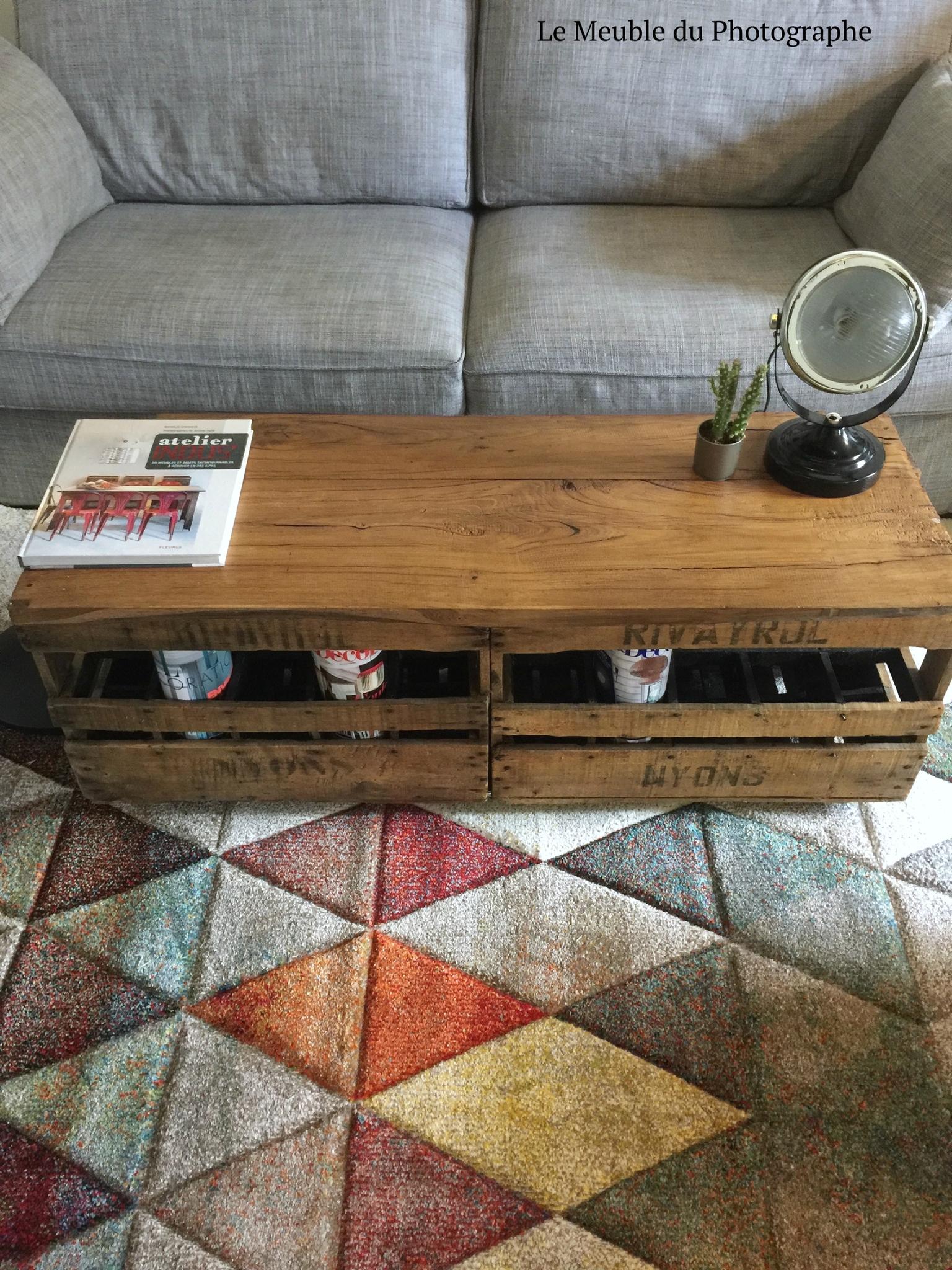Table basse bois range bouteille