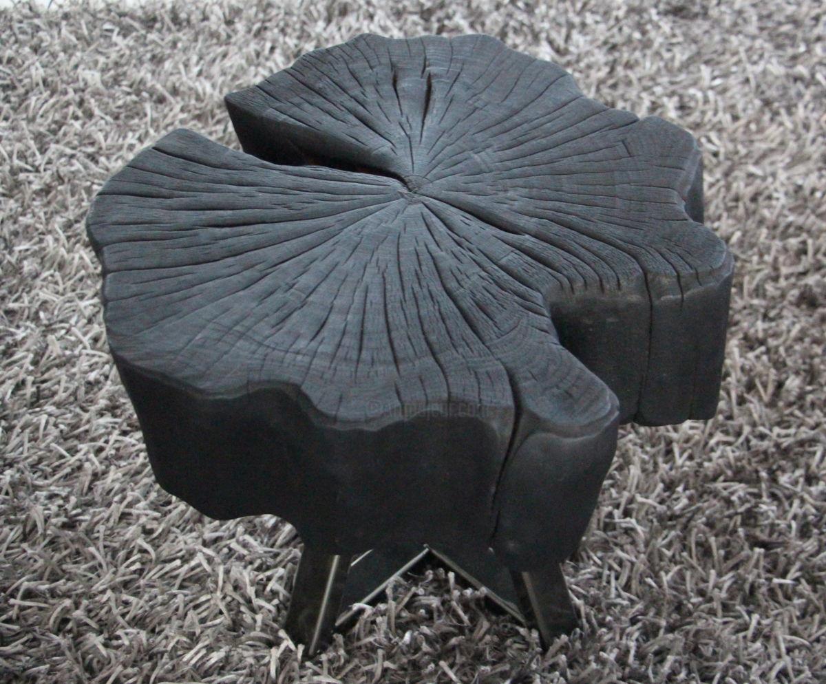 Table basse bois brulé