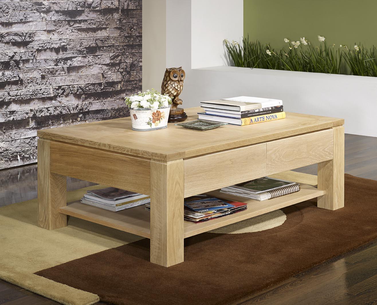 Table basse contemporaine bois massif
