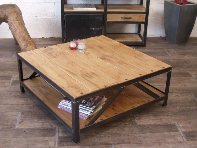 Table basse en palette et fer