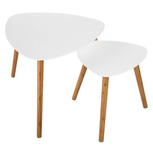 Vero bois - table basse - blanc mat/ décor chêne