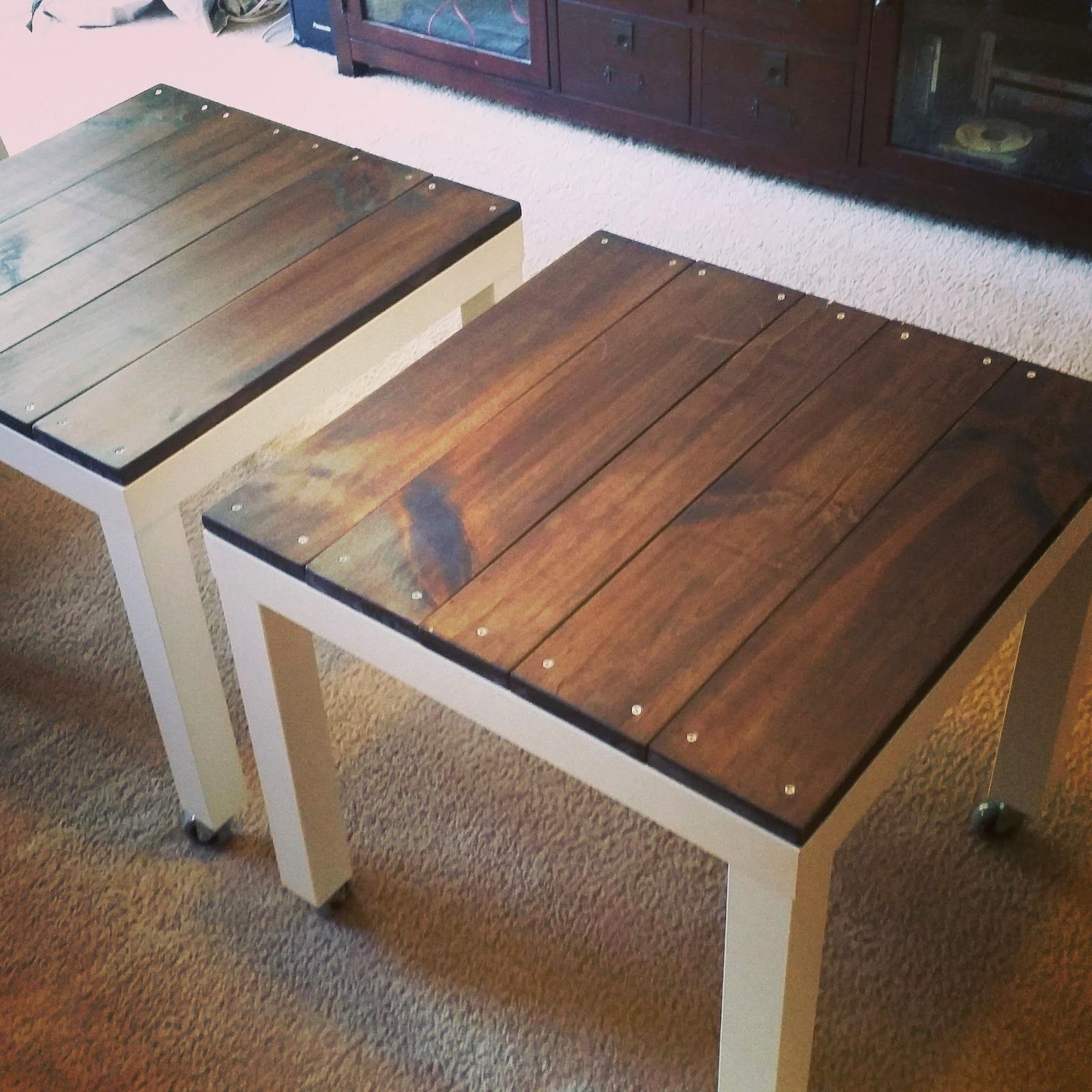 Table basse bois et metal ikea
