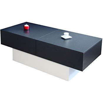 Lucky table basse contemporain bois et panneaux de particules noir et blanc - l 123 x p 55 cm