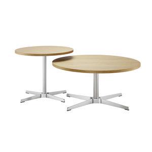 Table basse ronde en bois et rotin d 46 cm - suzane