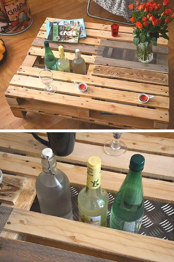 Table basse en palette avec jardiniere