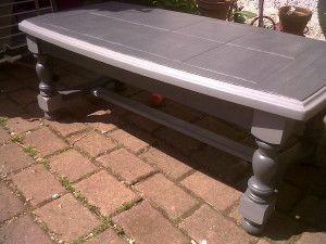Table basse rustique bois massif carrelée