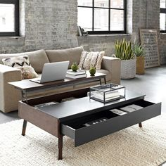 Table basse relevable ilona laquee blanc