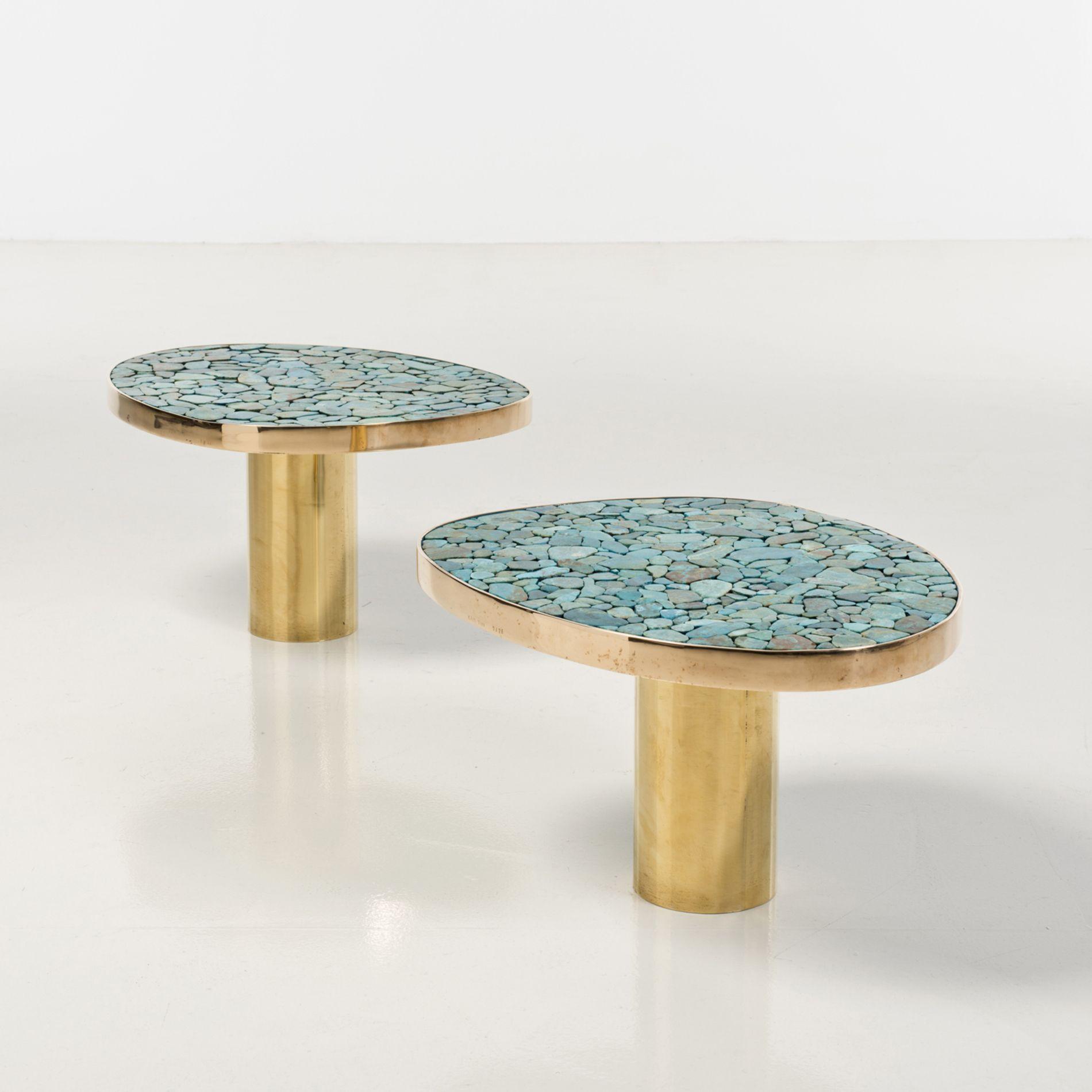 Table basse laiton et bois