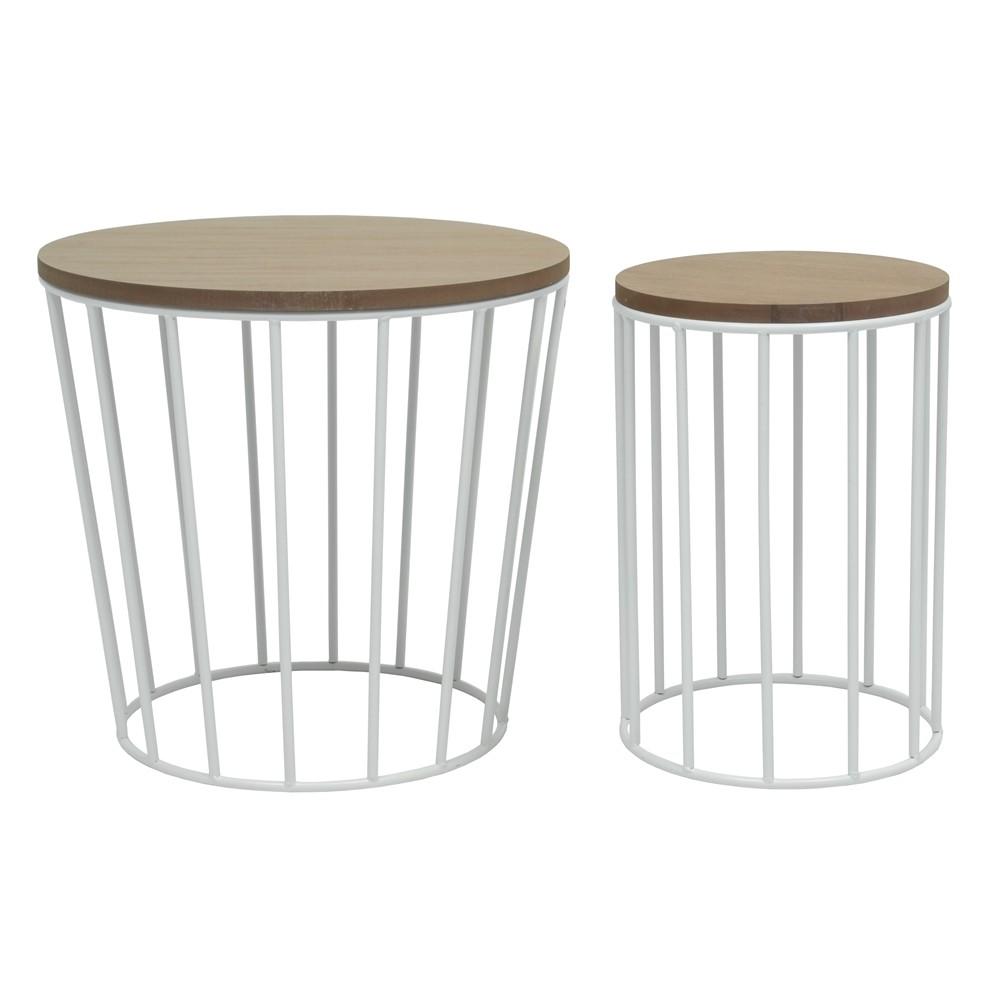 Table basse ronde bois et metal blanc