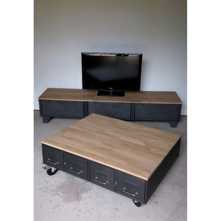 Table basse industrielle rangement
