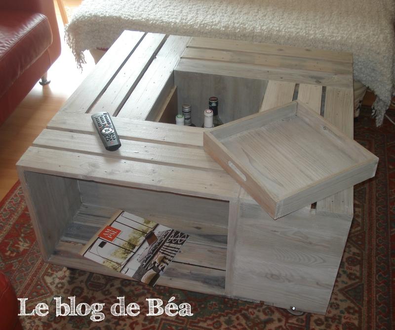 Table basse avec caisses en bois