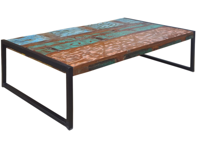 Table basse bois recyclé multicolor