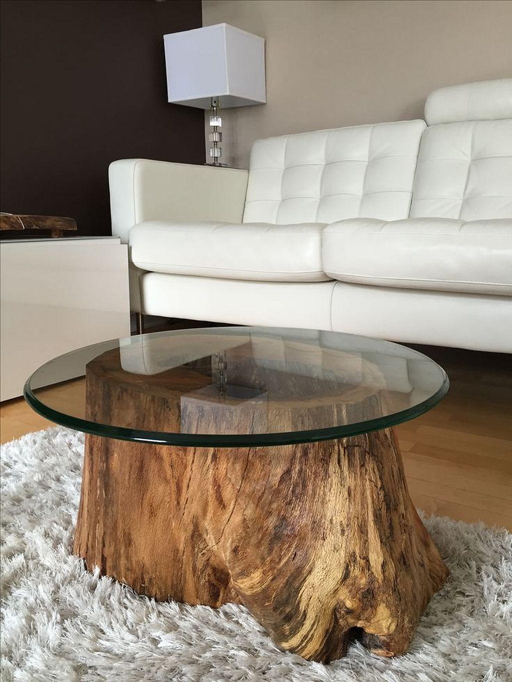 Table basse ronde en rondin de bois