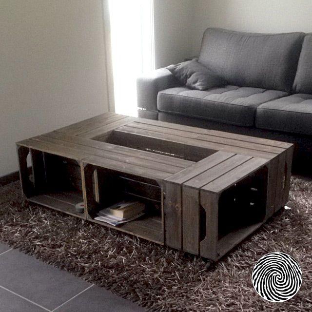 Table basse caisse vin bois