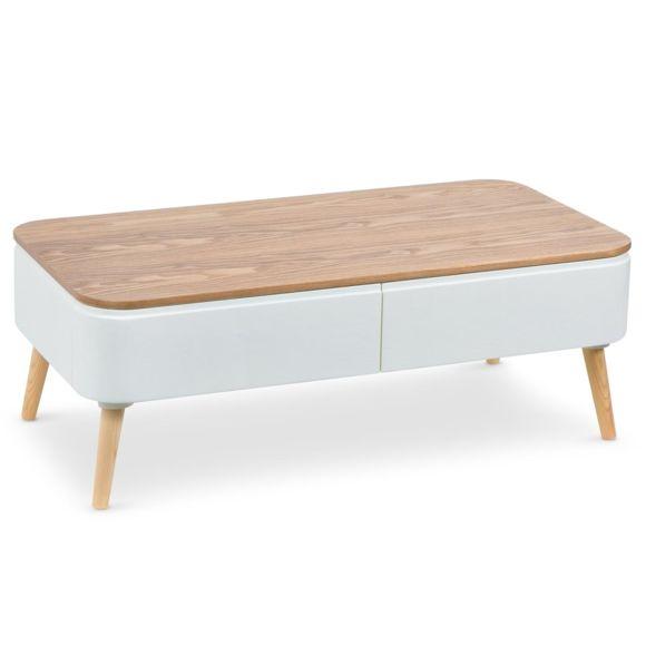 Table basse bois et blanc pas cher