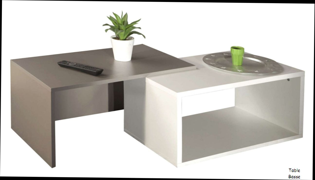Table basse gigogne blanc taupe
