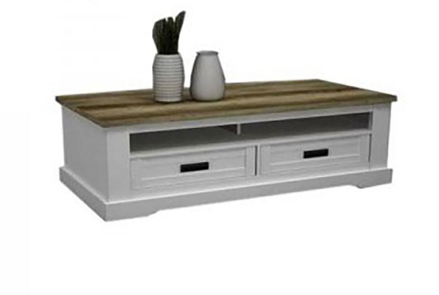 Table basse couleur bois et blanc