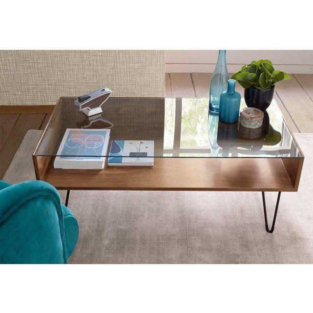 Table basse bois et verre la redoute