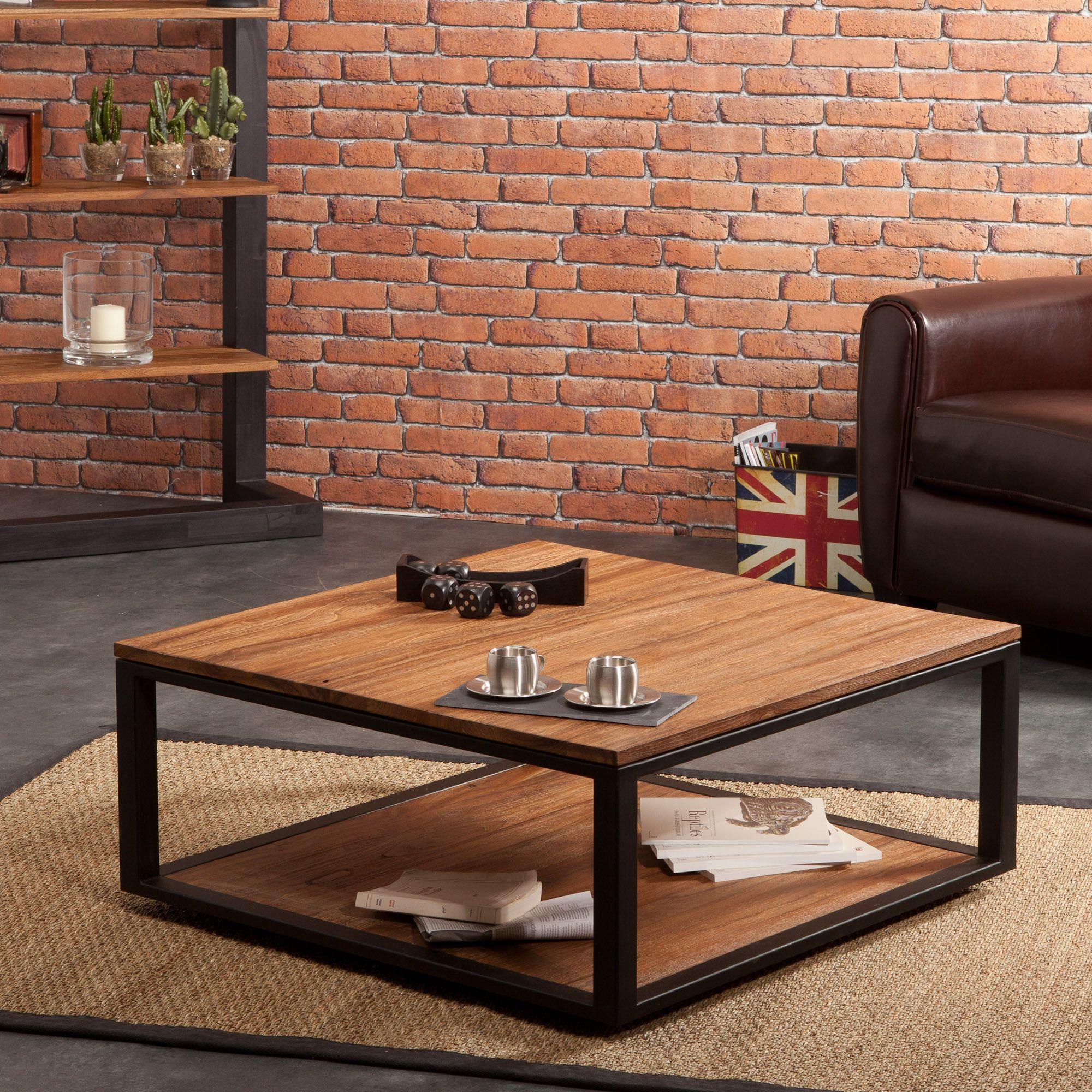 Table basse carrée bois métal