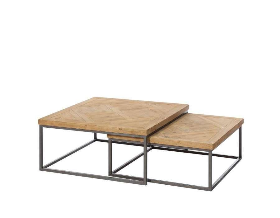 Table basse bois et fer gigogne