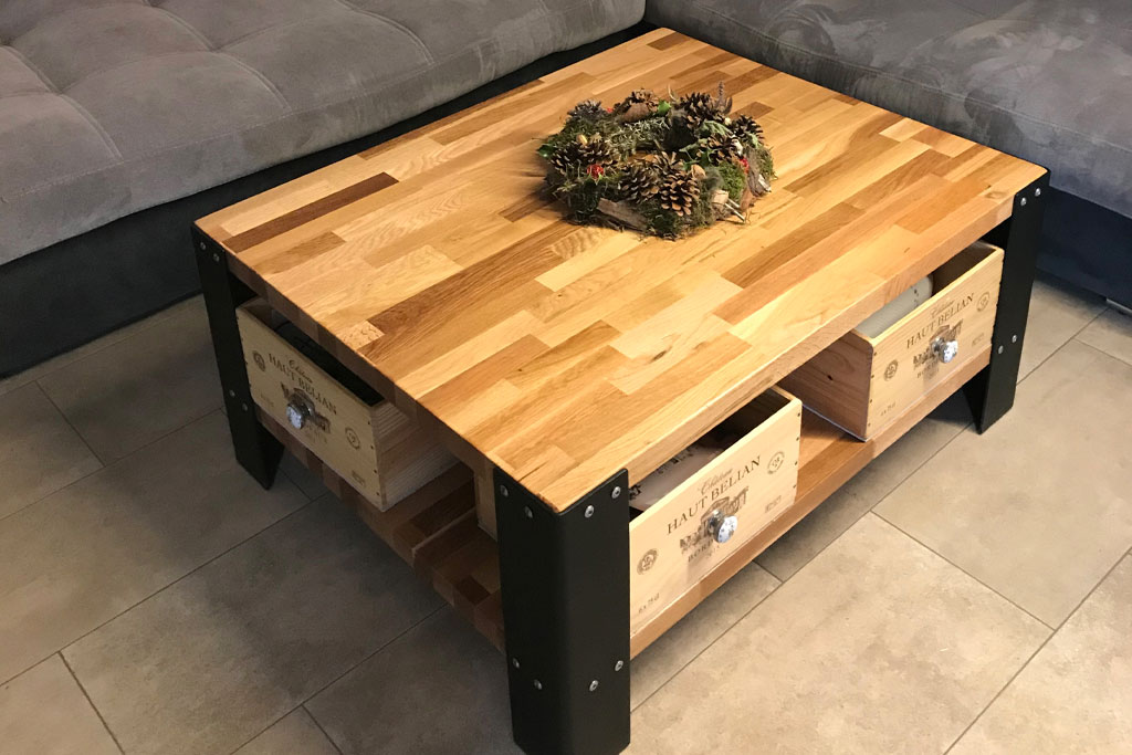 Fabriquer plateau table basse bois