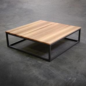 Table basse carré bois metal