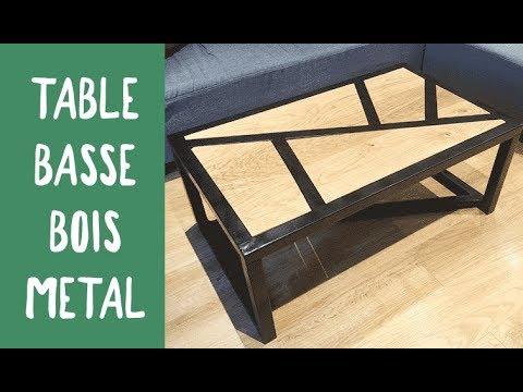 Table basse en bois et acier