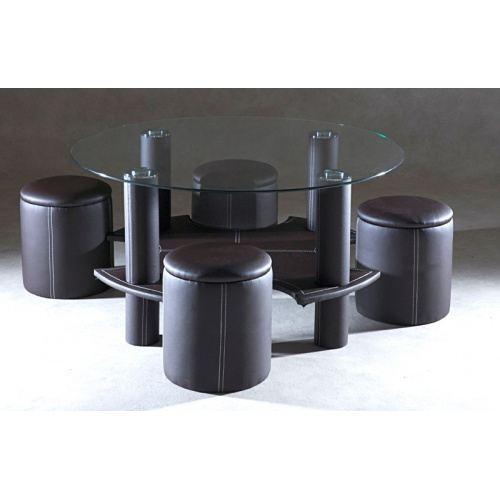 Table basse en bois ronde avec pouf