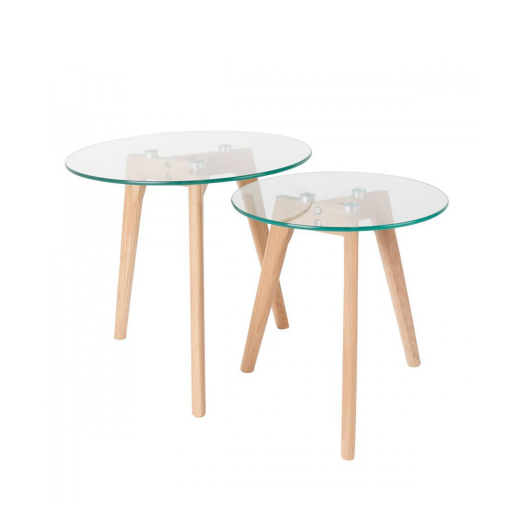 Table basse scandinave verre et bois