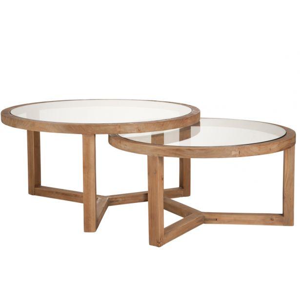 Table basse ronde bois et verre