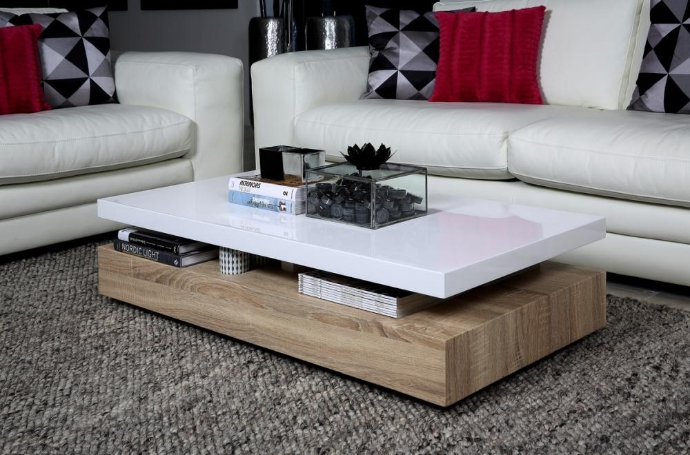 Table basse bois et blanc laque