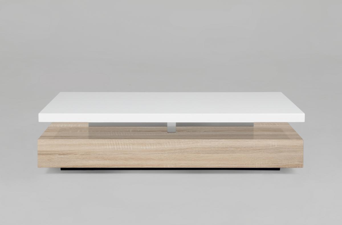Table basse design blanc bois