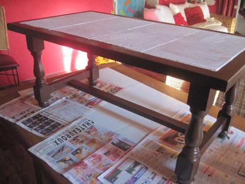 Table basse carrelage bois