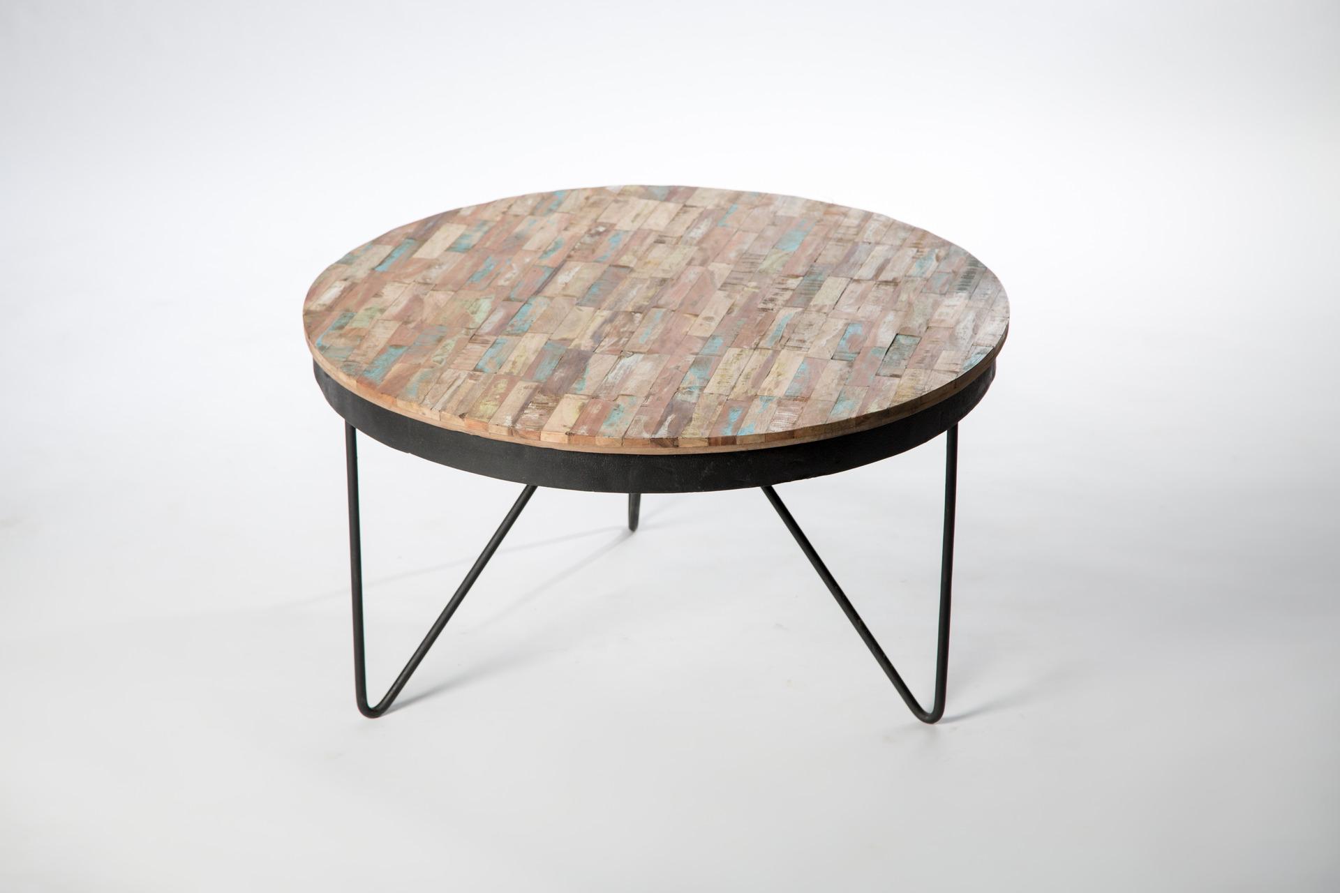 Table basse ronde bois naturel