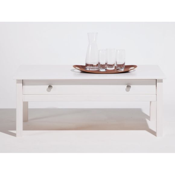 Table basse blanche bois massif