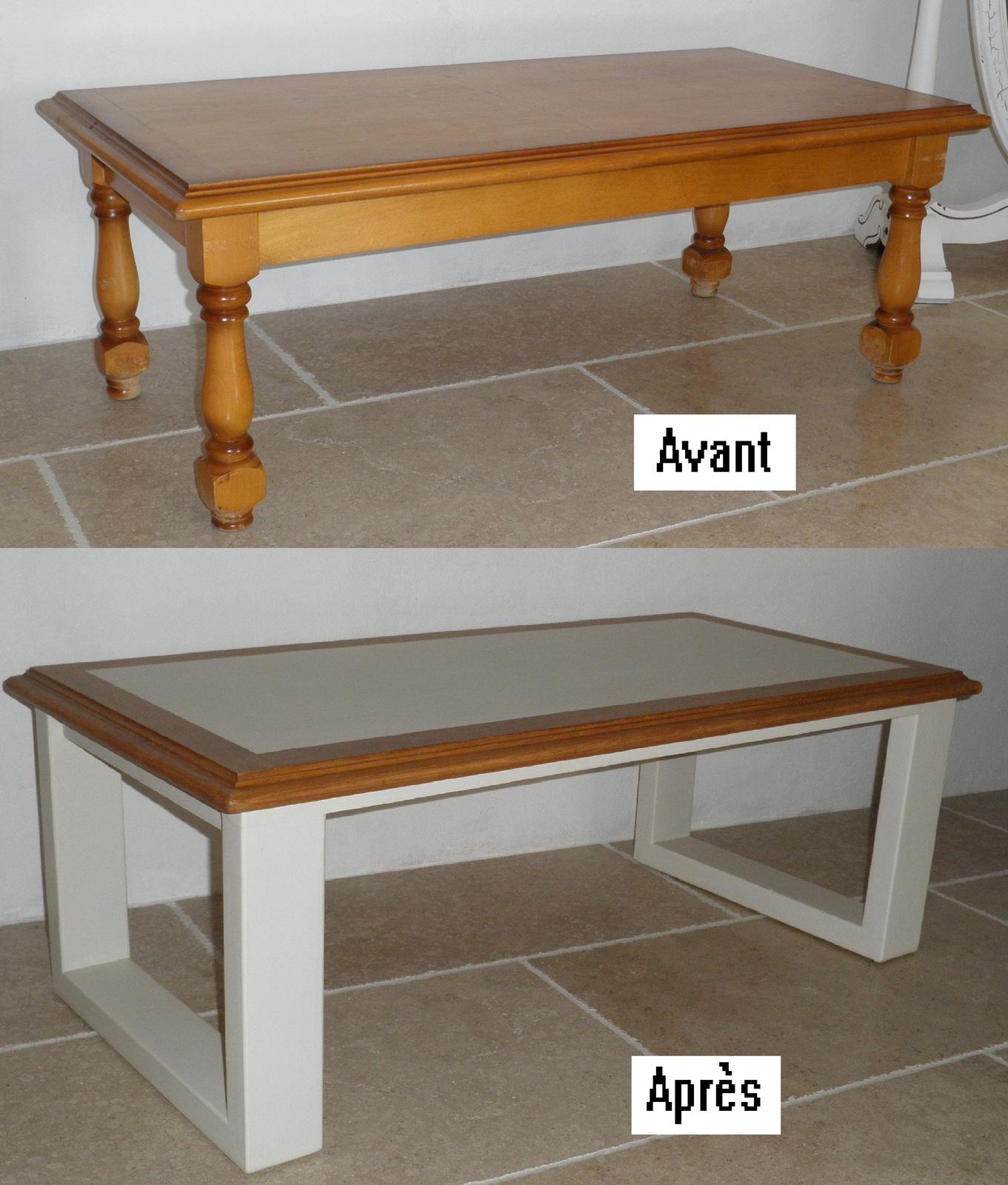 Table basse bois beton ciré