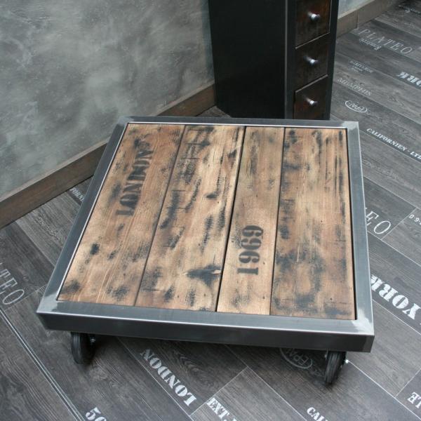Table basse palette acier