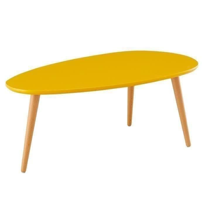 Table basse scandinave jaune moutarde