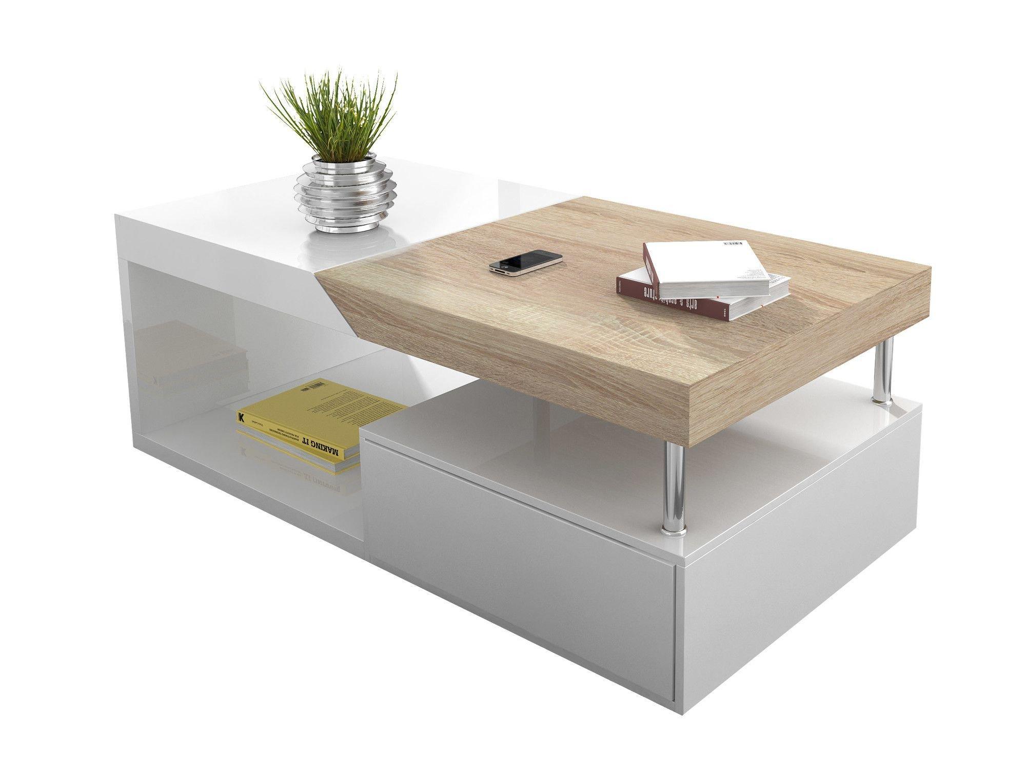 Table basse 2 tiroirs - blanc laqué mat et imitation bois foncé